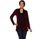 Susan Graver Burnout Velvet Long Sleeve Cardigan - A282077