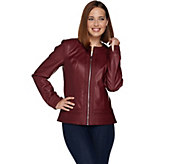 Studio by Denim & Co. Faux Leather Jacket with Embroidery Trim - A283677