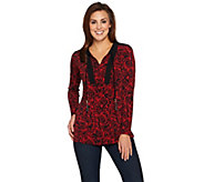 Susan Graver Printed Liquid Knit Tunic with Beaded Tassels - A284777
