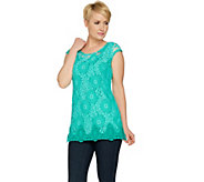 Isaac Mizrahi Live! Extended Shoulder Bi-Color Lace Tunic - A290877