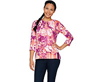 Isaac Mizrahi Live! Engineered Paisley 3/4 Sleeve Cardigan - A292077