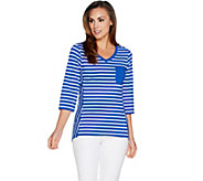 Denim & Co. Active Perfect Jersey Striped 3/4 Sleeve Top w/ High Low Hem - A292977