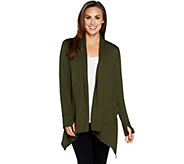 Cuddl Duds Comfortwear French Terry Cascade Front Cardigan - A293077