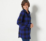 Denim & Co. Heavenly Jersey Buffalo Plaid Button Front Tunic Top - A296477