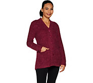 Susan Graver Boucle Button Front Cardigan - A298477