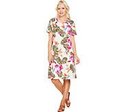 As Is Denim & Co. Short Sleeve V Neck Empire Waist Print Dress - A303677