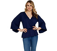 Lisa Rinna Collection Solid Surplice Top with Peplum - A308777
