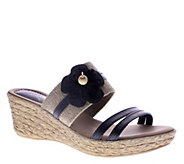 Azura by Spring Step Leather Wedge Slide Sandals - Aketi - A336377