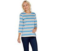 Denim & Co. Perfect Jersey 3/4 Sleeve Heather Stripe Top - A221878