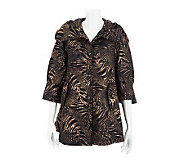 George Simonton 3/4 Sleeve Animal Print Button Front Swing Jacket - A227778