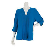 Kelly by Clinton Kelly V-Neck Blouse with Pleat Detail - A231478