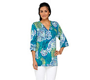 Attitudes by Renee All Over Print Drop Sleeve Top w/Side Slit - A231678