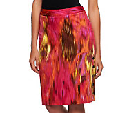 Kelly by Clinton Kelly Tailor Fit Ikat Print Skirt w/ Button Accent - A233178