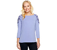 George Simonton Milky Knit Top with Beaded Applique - A240778