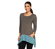 LOGO by Lori Goldstein Knit Top with Contrast Hem & Pockets - A251178