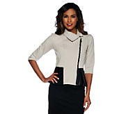 Project Runway by Seth Aaron Ponte Knit Peplum Jacket w/ Trim Detail - A253678