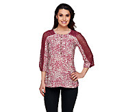 Isaac Mizrahi Live! Animal Print Tunic with Eyelet Sleeves - A255678