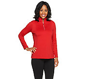 Susan Graver Butterknit Half Zip Long Sleeve Pull-over Top - A257078