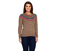 Liz Claiborne New York Button Front Fair Isle Cardigan - A258278
