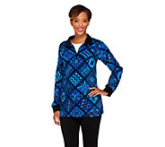 Bob Mackies Tile Print Fleece Pullover - A260178