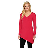 Susan Graver Rayon/Nylon Long Sleeve Sweater with Asymmetric Hem - A260478
