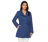 Dennis Basso Water Resistant Trench Coat with Pleat Detail - A263178