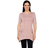 LOGO by Lori Goldstein Elbow Sleeve Stripe Top with Sharkbite Hem - A263278