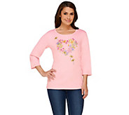 Quacker Factory Bee-Happy 3/4 Sleeve Knit T-Shirt - A263578