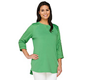 Denim & Co Active Petite Tunic with Knit Eyelet Trim - A263778