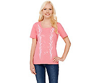 Bob Mackies Short Sleeve Sequin and Embroidered Knit T-shirt - A266378