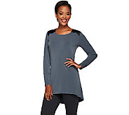 Susan Graver Liquid Knit Long Sleeve Tunic with Faux Leather Trim - A267978
