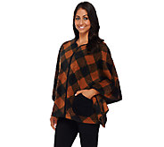Bob Mackies Plaid Printed Fleece Poncho with Front Pockets - A268378