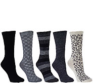 Cuddl Duds Plushfill Mid-Weight Boot Socks Set of Five - A268778