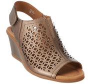 Earth Leather Wedge Sandals w/ Cut-out Details - Cascade