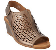 Earth Leather Wedge Sandals with Cut Out Details - Cascade - A272378