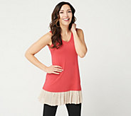LOGO Layers by Lori Goldstein Knit Tank with Broomstick Mesh Polka-Dot Trim - A273378