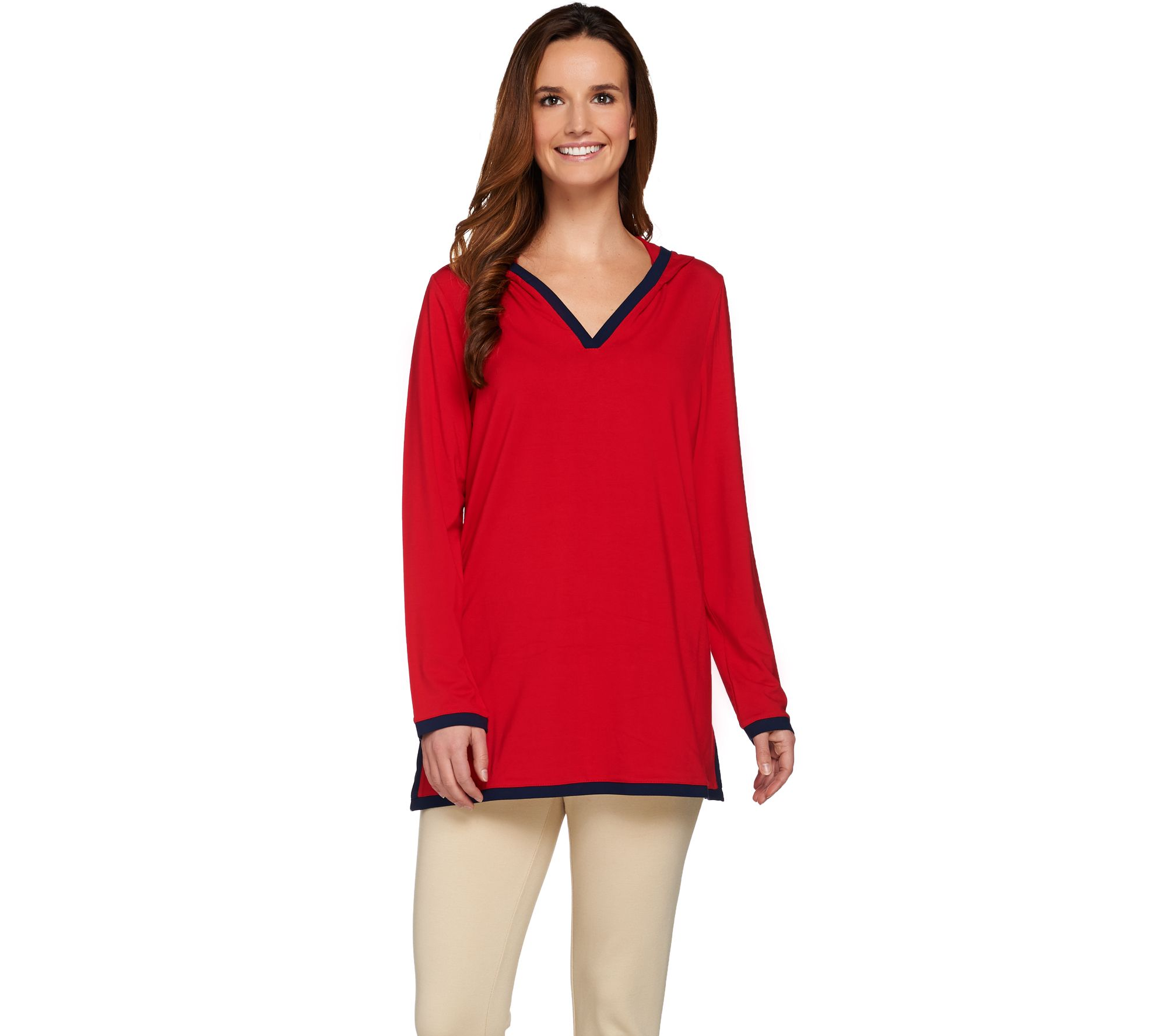 Susan Graver Dolce Knit Long Sleeve Hooded Pullover Tunic - A273478