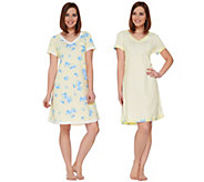 Carole Hochman Gardenia Blossoms Sleepshirt Set of Two - A273578