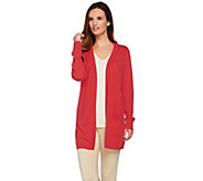 Joan Rivers Knit Boyfriend Cardigan with Ribbed Waist Detail - A273778