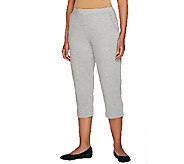 As Is Susan Graver Weekend French Terry Comfort Waist Capri Pants - A274178