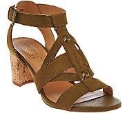 Franco Sarto Leather Multi-strap Sandals w/ Cork Heel - Paloma - A274578