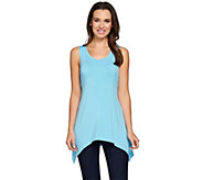 LOGO by Lori Goldstein Scoop Neck Knit Tank with Asymmetric Hem - A274978