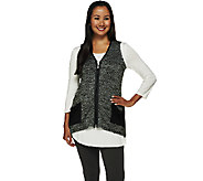 As Is LOGO by Lori Goldstein Sweater Knit Vest with Faux Leather Trim - A276278