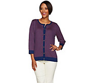 C. Wonder 3/4 Sleeve Scallop Pattern Jacquard Knit Cardigan - A278578