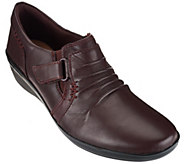 As Is Clarks Ruched Leather Slip-ons with Adj. Strap - Everylay Coda - A279678