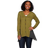 As Is LOGO by Lori Goldstein Cotton Cashmere Cardigan with Chiffon Godets - A280178