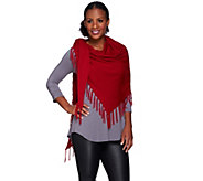 As Is Susan Graver Plush Knit Fringed Scarf - A280578