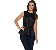 G.I.L.I. Printed Faux Leather Sleeveless Peplum Top - A280978