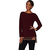 Susan Graver Textured Liquid Knit Tunic with Printed Trim - A282078