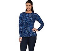 Denim & Co. Long Sleeve Round Neck Animal Dot Printed Top - A283478